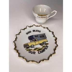 God Bless Our Camper Plate and Tea Cup Made In Jap